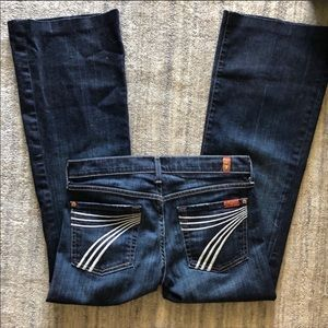 7 For All Mankind Dojo Flare White Stitch Jean 27